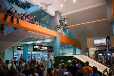Moscow, Russia, September 13, Biker on mountain bike jumping at DownMall contest in Moscow, September 13, 2014 in Moscow, Russia