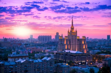 Russian Federation Ministry of Foreign Affairs skyscraper building in Moscow center at sunset