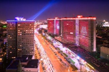 Noviy Arbat street night aerial panorama