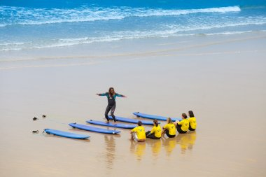 France, Biarritz, 21 July 2015: surf school at the sand beach