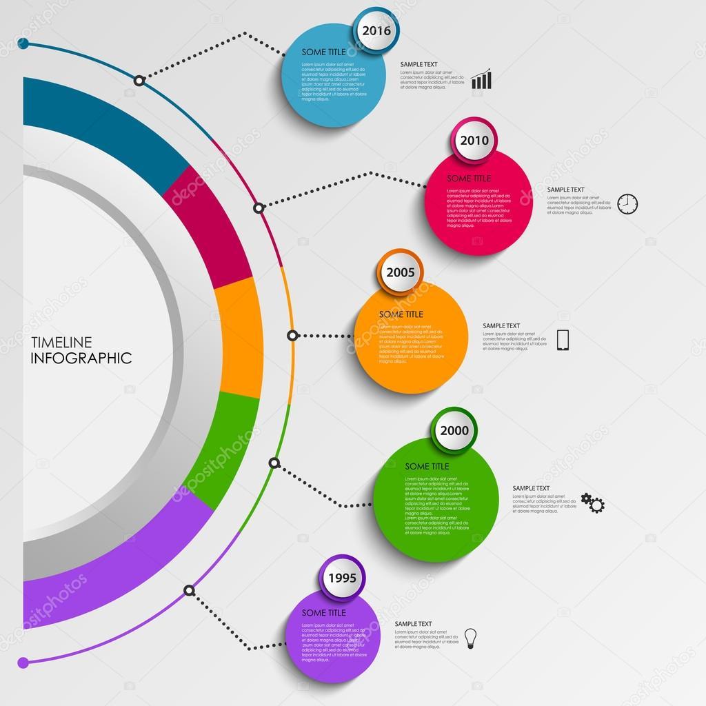 Gráfico de información de línea de tiempo con diseño colorido ...
