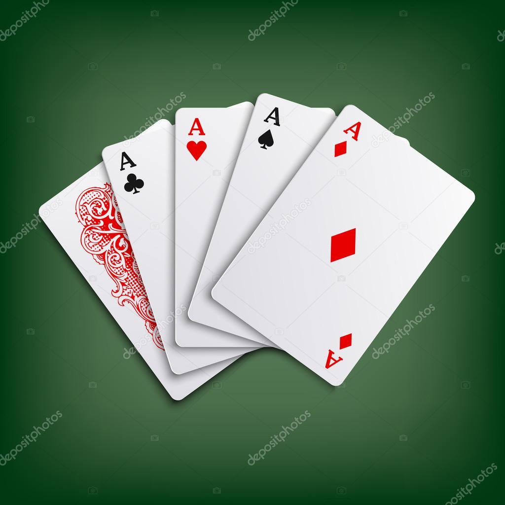 Plantilla juego de jugando a las cartas de poker de ases — Vector ...