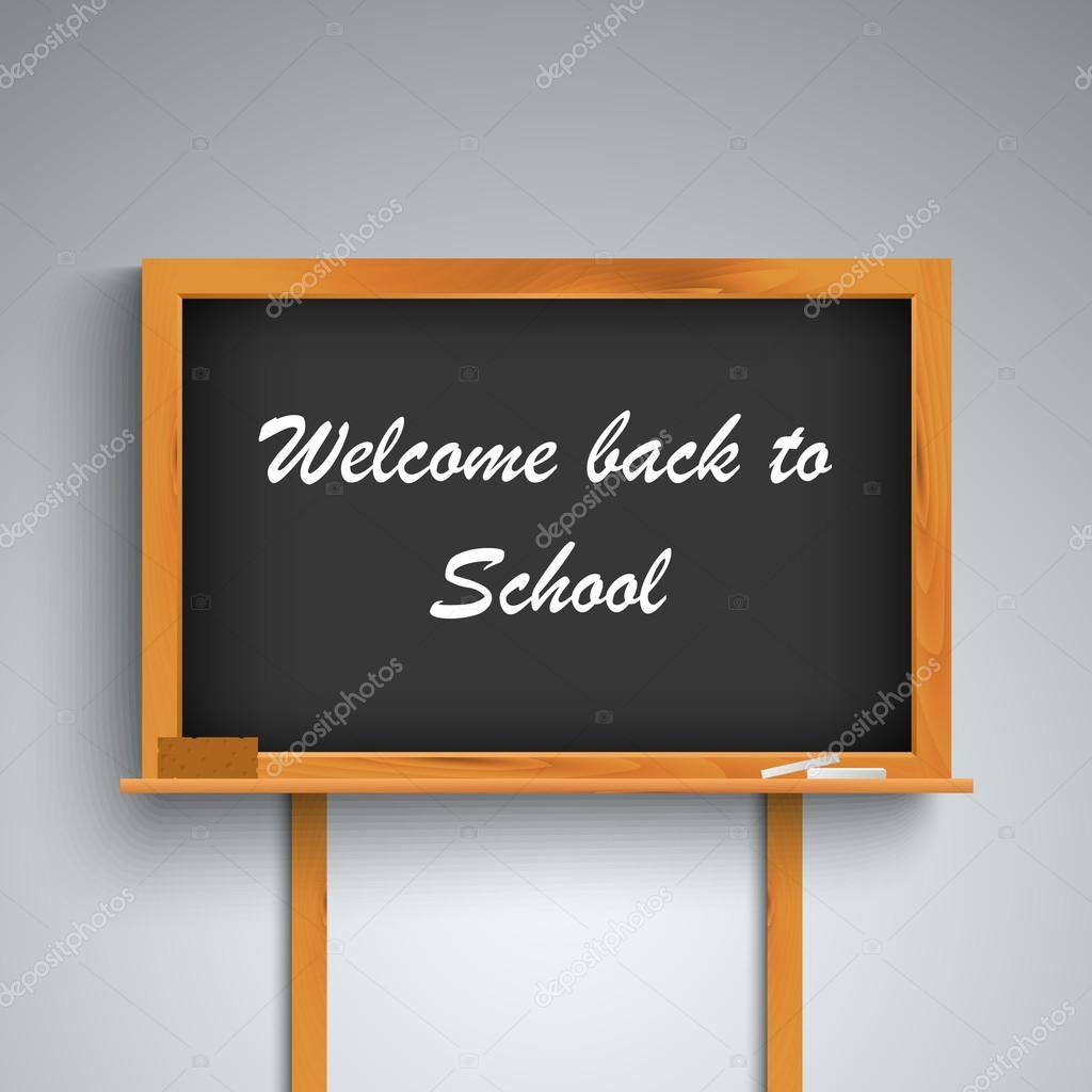 Regreso a la escuela en plantilla tablero negro — Vector de stock ...