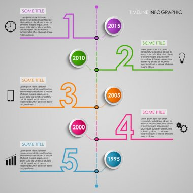 Timel ine info graphic colored number design template