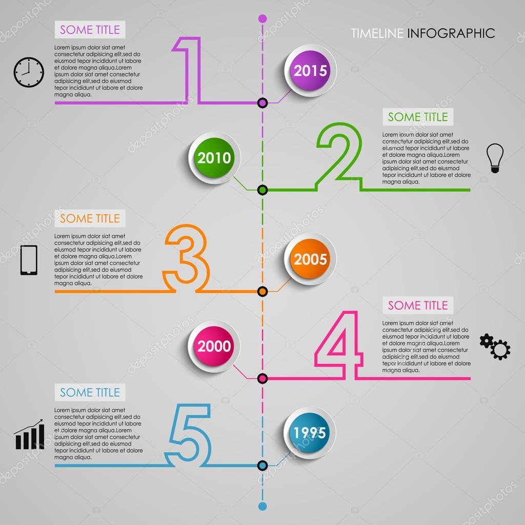 Timel Ine Informacji Graficzny Kolorowy Numer Szablonu