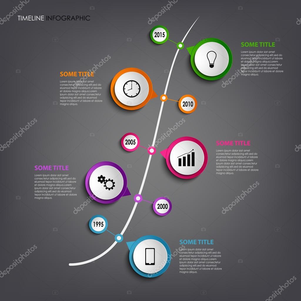 Gráfico de información de línea de tiempo con color redondea ...