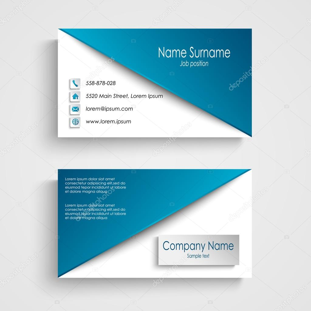 tarjeta de presentación con plantilla azul fondo blanco — Archivo ...