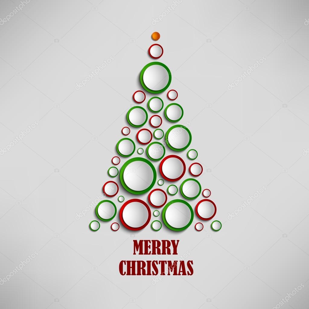 Tarjeta de Navidad con árbol de plantilla de círculos de colores ...