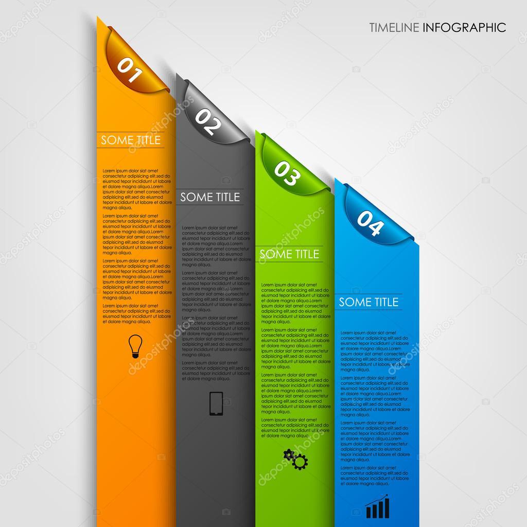 Info-Grafik mit farbigen Streifen und Lesezeichen-Vorlage ...