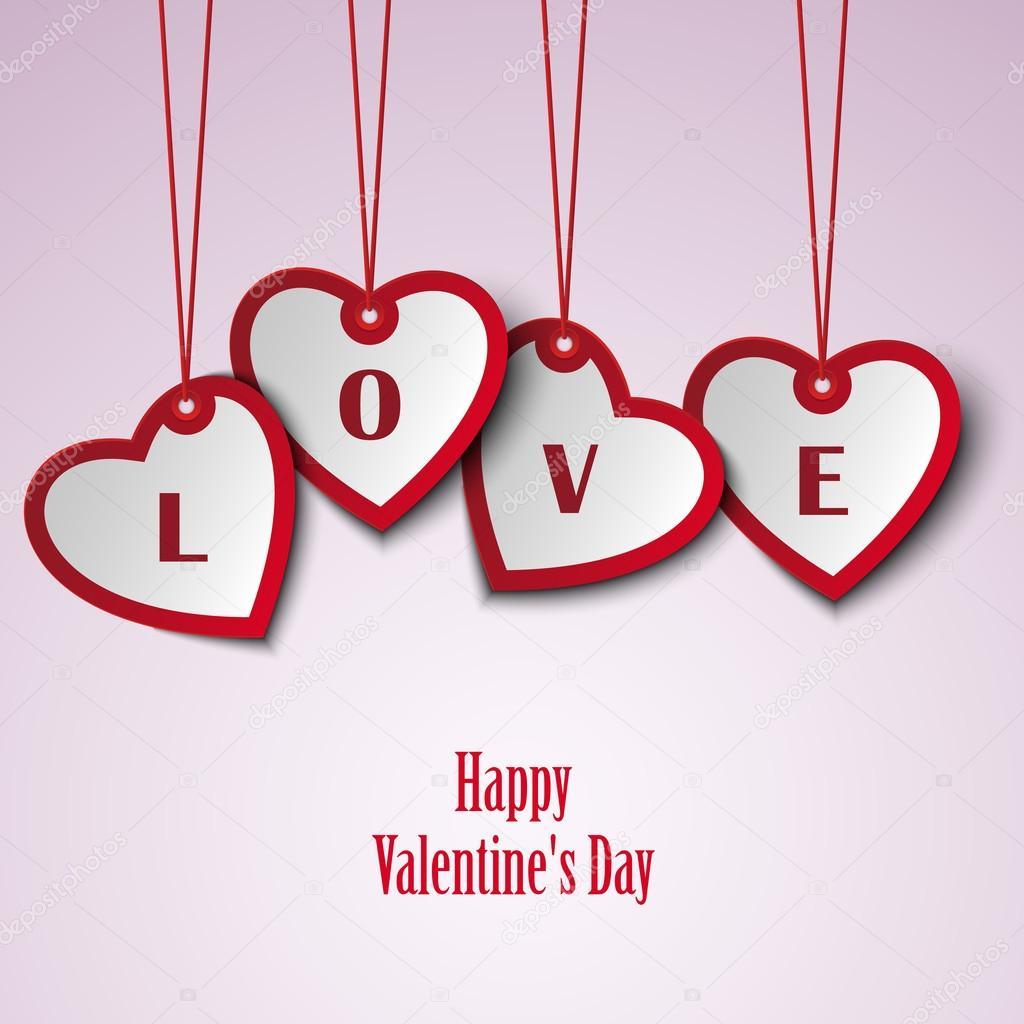 Valentinskarte mit hängenden Herzen Vorlage — Stockvektor © Plisman ...