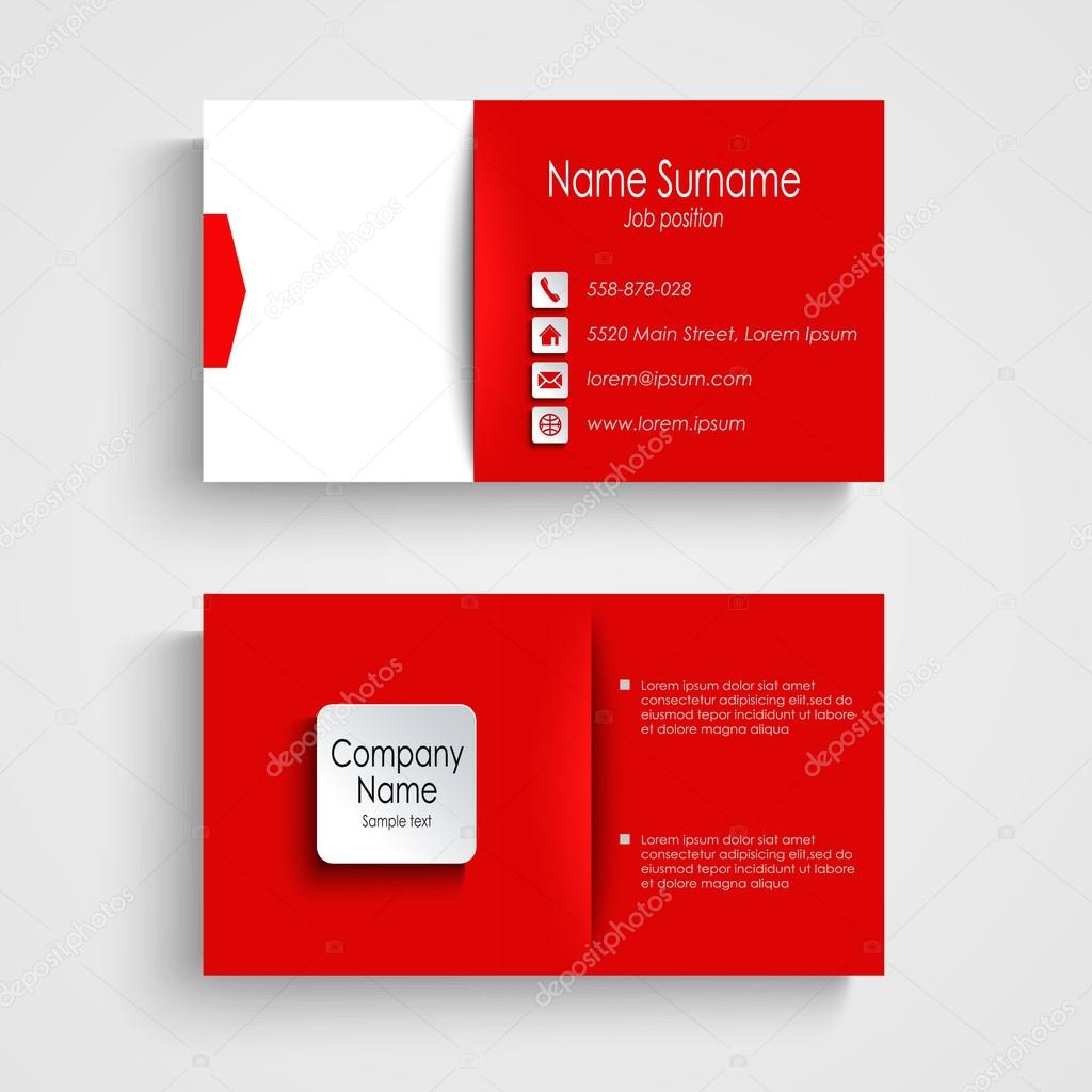 Business Card With Red White Background Template Vector Eps 10 By Plisman