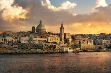 Valletta skyline waterfront at sunset