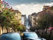 Scena della via in Catania, Sicilia, Italia
