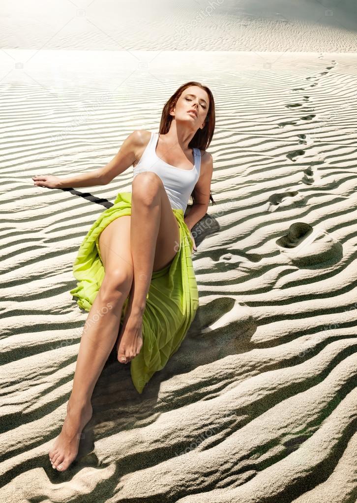 Model in sand dunes