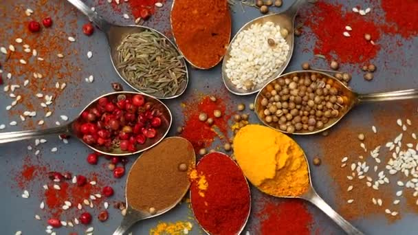 Spices background. Indian and Asian food spices on spoons and dark background. Curry, pepper, chili as ingredients of Indian cuisine