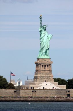 Statue of Liberty sculpture, on Liberty Island in the middle of