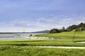 Algarve golfové hřiště seascape scenérie, na ria formosa, kterou mokřadů Rezerva.