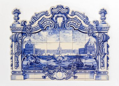Portuguese traditional hand painted tin-glazed ceramic tilework,