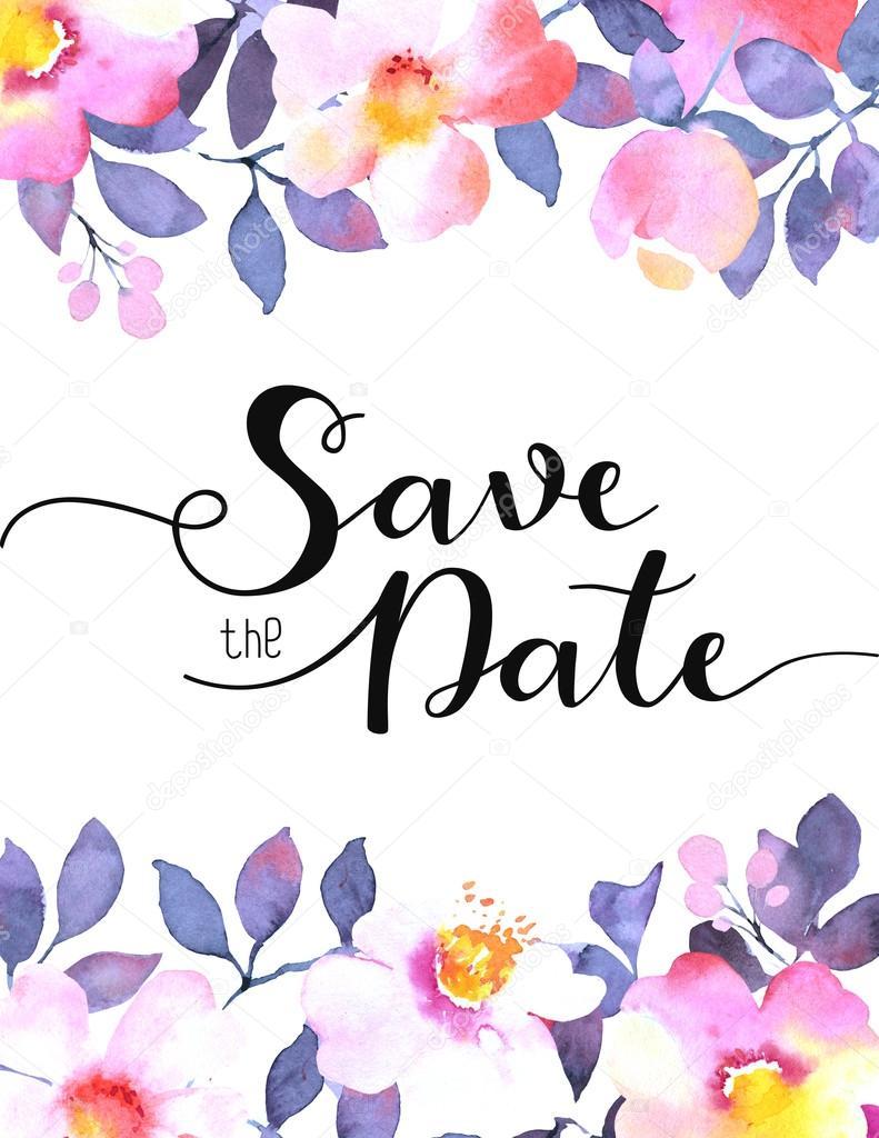 Hochzeit Einladung Vorlage Mit Aquarell Gemalte Abstrakte Blumen