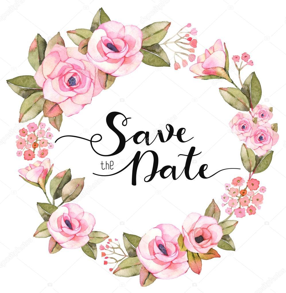 Hochzeit Einladung Vorlage Mit Wasserfarben Gemalten Rosen Dekoriert