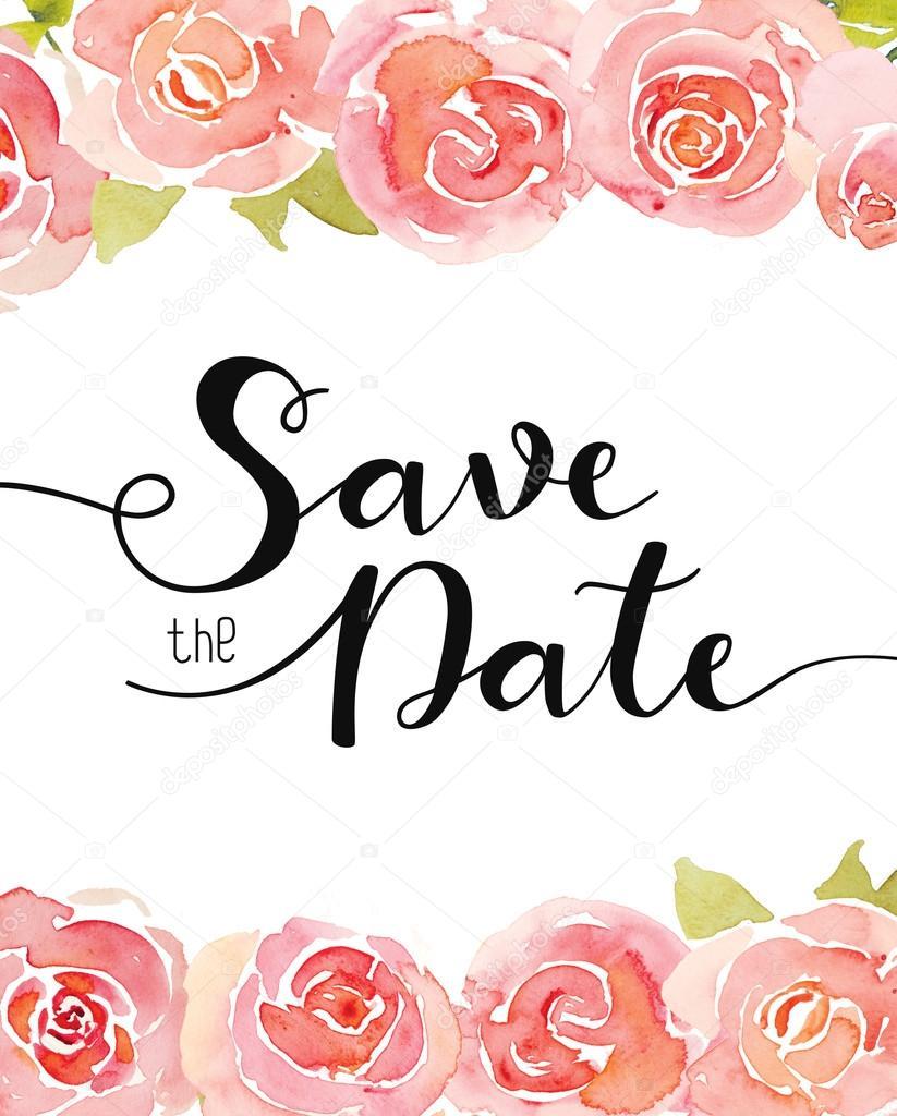 Hochzeit Einladung Vorlage Mit Wasserfarben Gemalten Rosen Dekoriert U2014  Stockfoto #116362860