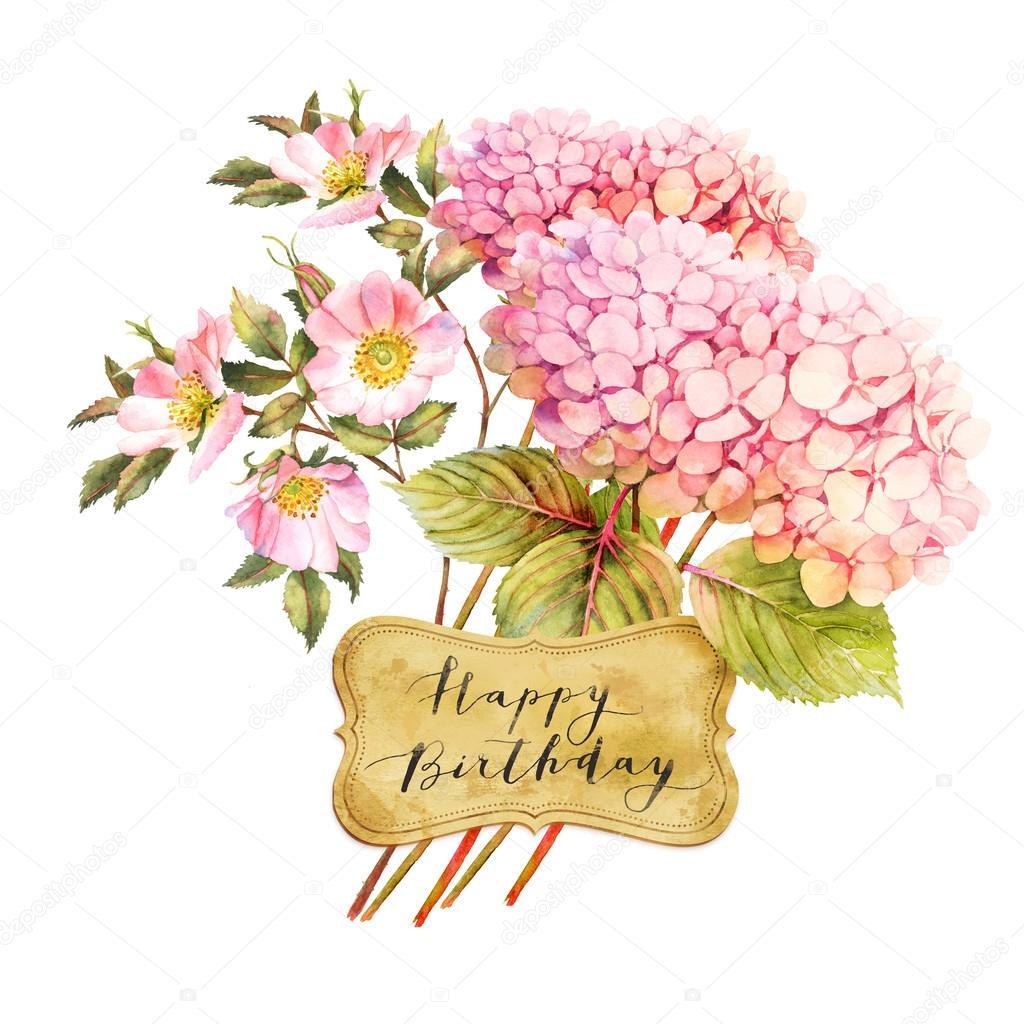 Открытка с гортензиями с днем рождения, поздравление