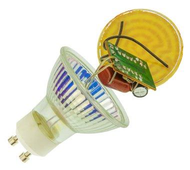 Broken LED light bulb isolated on white
