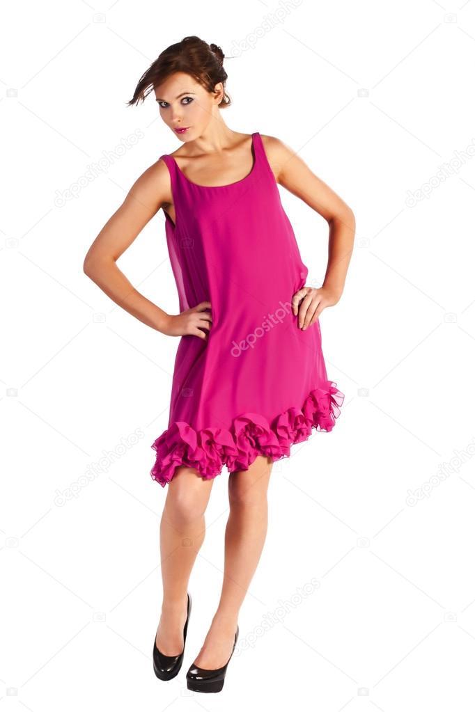 Jóvenes y modelo de mujer sexy en vestido rosa posando — Fotos de ...