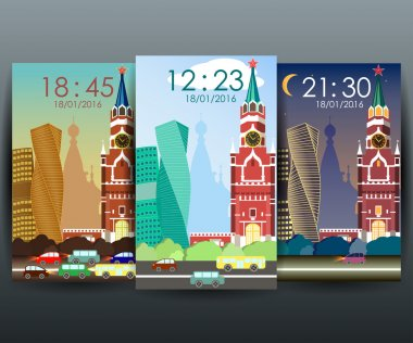 Stock vector mobile interface wallpaper design with cityscape ve