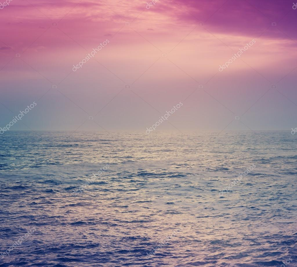 beautiful pink sunset over the sea