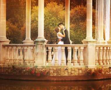 Lovely Couple in Gazebo on Wedding Day
