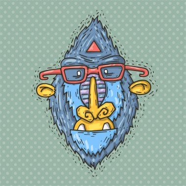 Monkey face with glasses