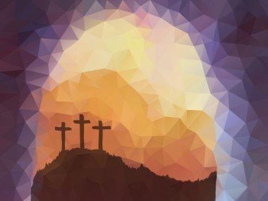 Easter scene with cross. Jesus Christ. Polygonal vector design.