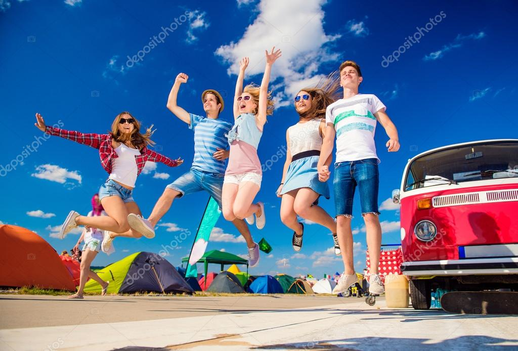 Teenagers at summer festival