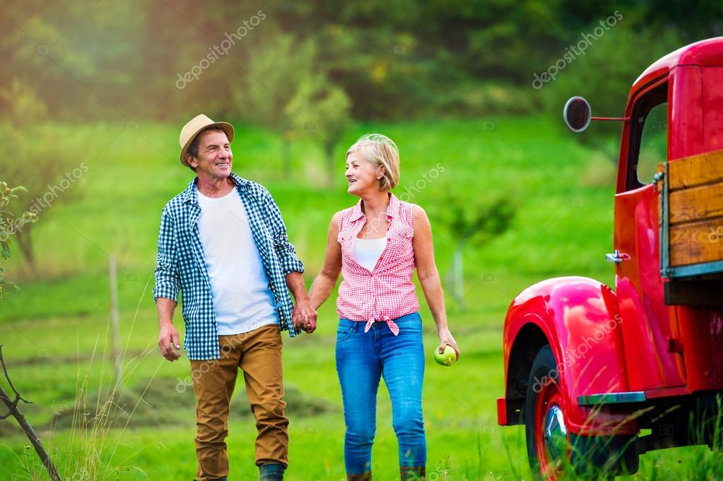 Senior couple in nature by vintage car