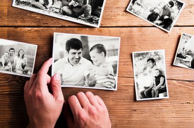 Fathers day composition. Black-and-white pictures, studio shot