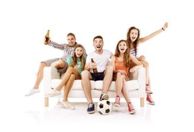 Happy people watching football
