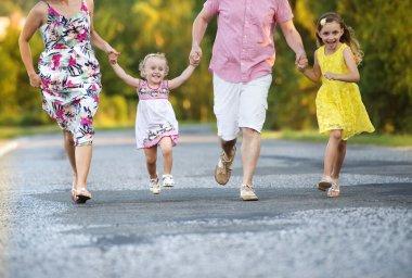 Family having fun on the road