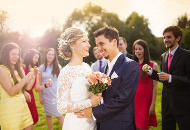 Newlyweds enjoying romantic moment togethe