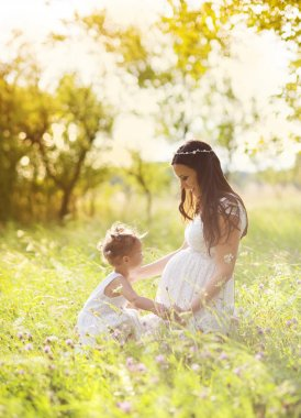 Girl with her mother spending time