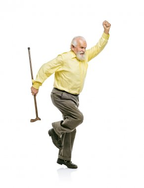 Energetic old man with cane