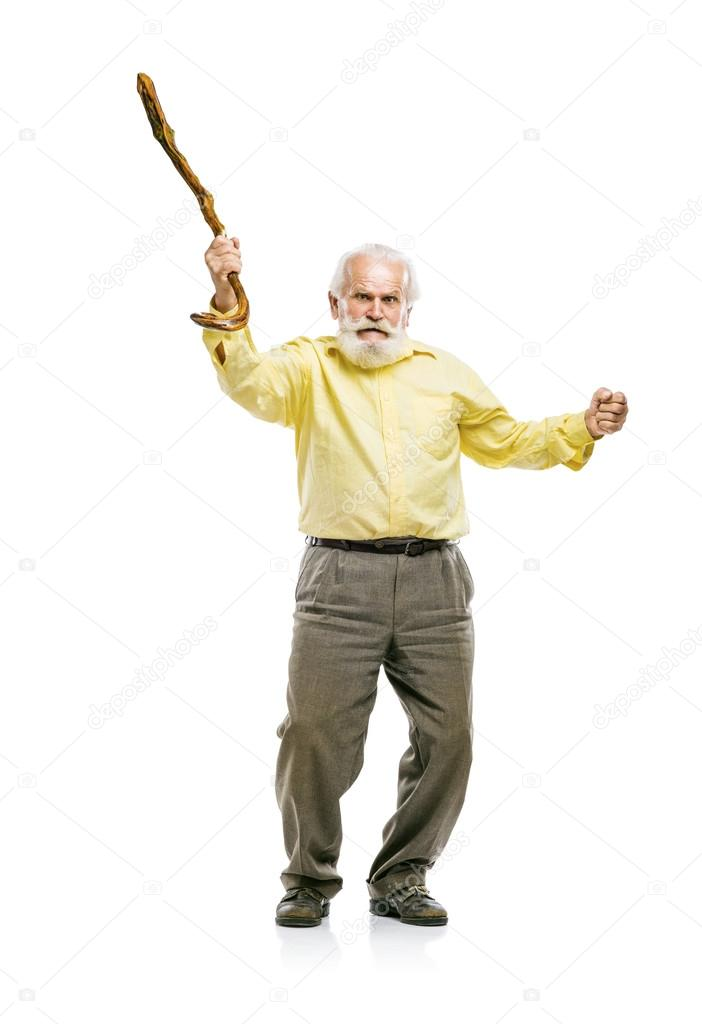 Energetic old man with cane — Stock Photo © halfpoint ...
