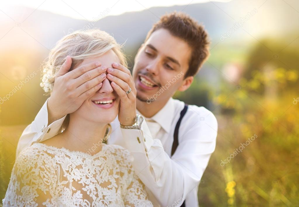 Wedding couple enjoying romantic moments