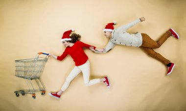 Christmas couple with trolley