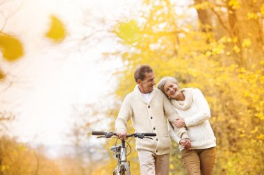 Active senior couple together enjoying romantic walk with bicycle in golden autumn park stock vector