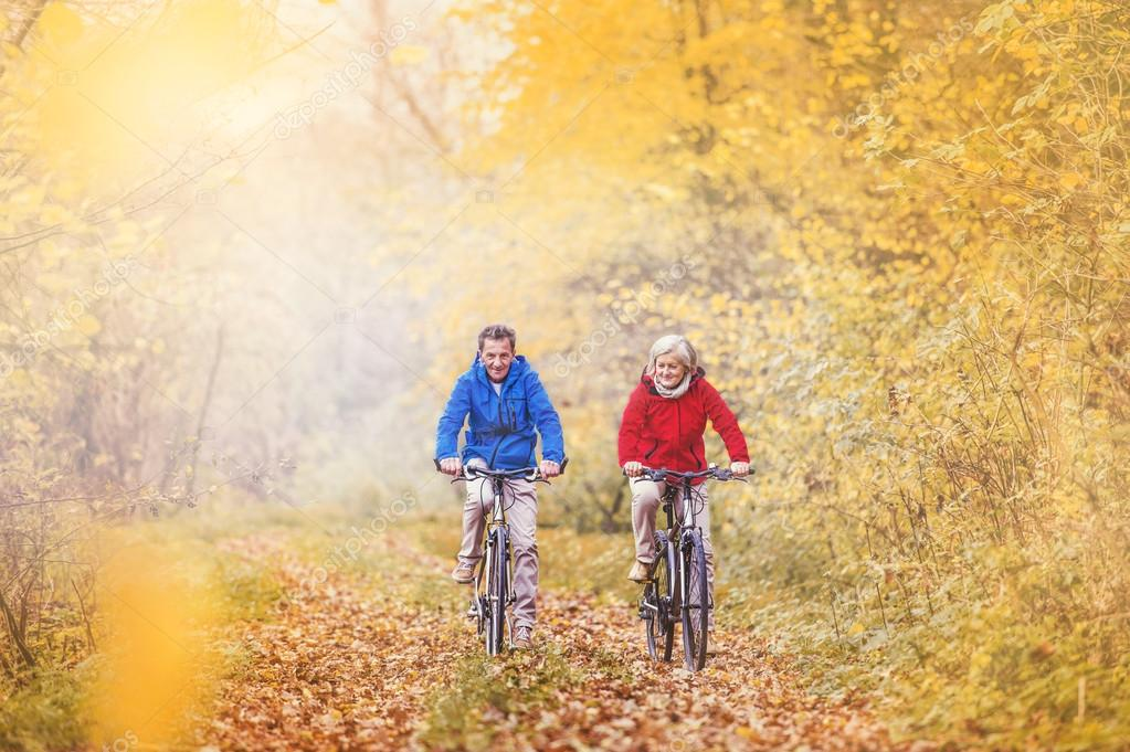 Active seniors riding on bikes in autumn nature. They relax outdoor. stock vector