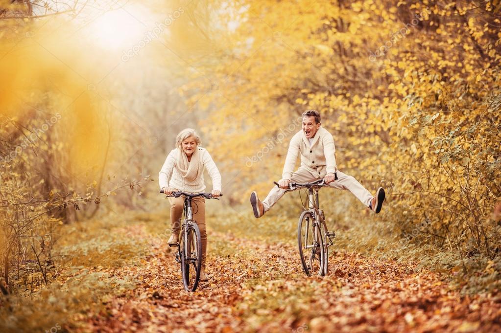 Active seniors on bikes