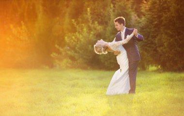 Wedding couple enjoying romantic moments