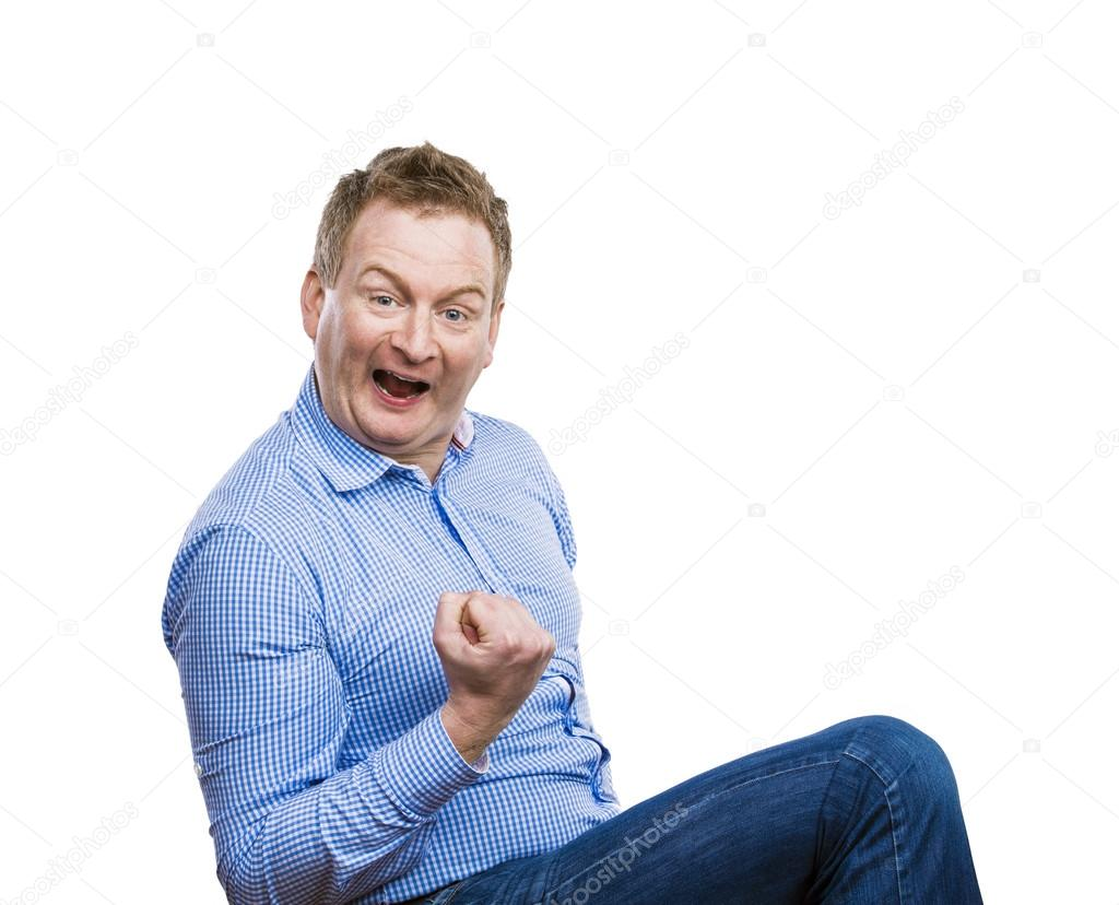 Funny Man Celebrating Success Stock Photo C Halfpoint 63905027