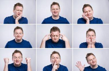 Man makes gestures and mimics